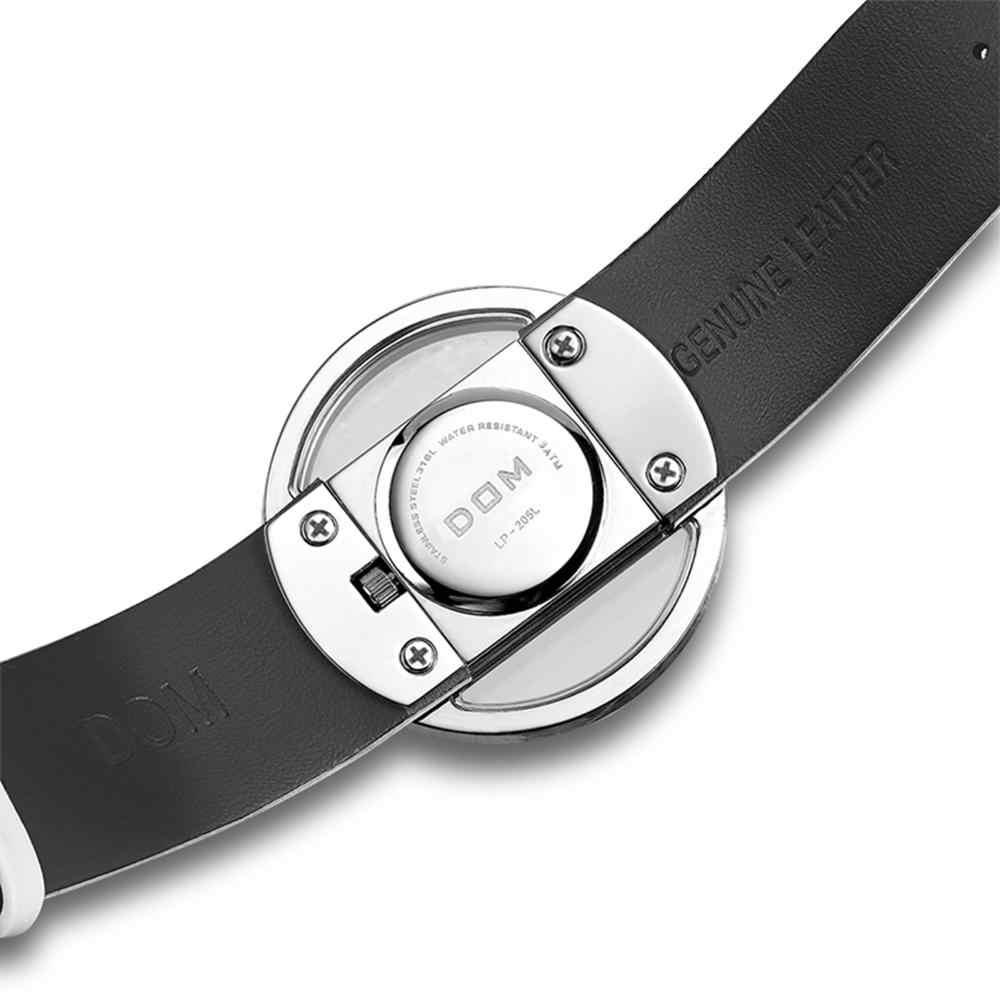 DOM ブランドスケルトン腕時計女性高級ファッションカジュアルクォーツ時計革キャンバス女性腕時計ガールドレス LP-205-1M
