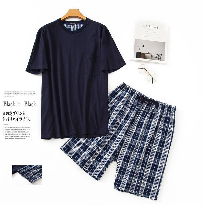 New O-Neck Cotton Mens Summer Woven Short Sleeve Shorts Pajamas Set Big Size Plaid Sleepwear Leisure Suits Nightwear Men Pijamas