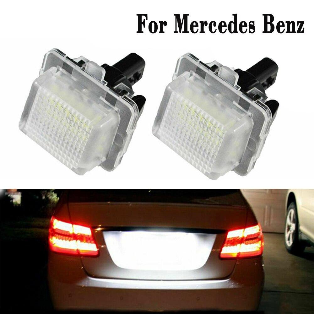 2 Pcs Canbus LED Auto Anzahl License Platte Licht Montage Für Mercedes Benz W204 W212 W216 W221 W207 W218 Auto lampe Luces 6000K