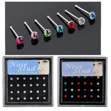 Trendy 24PCS/Box 925 Sterling Silver Charm Multicolor Round Crystal Nose Stud Ring Bone Body Piercing Jewelry 2mm 2.5mm