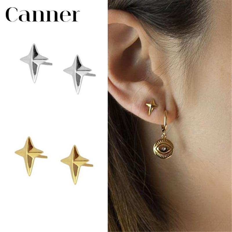Simple Geometric Cross Gold Silver Earrings for Women Minimalist 925 Sterling Silver CZ Zircon Stud Earrings Fashion Jewelry