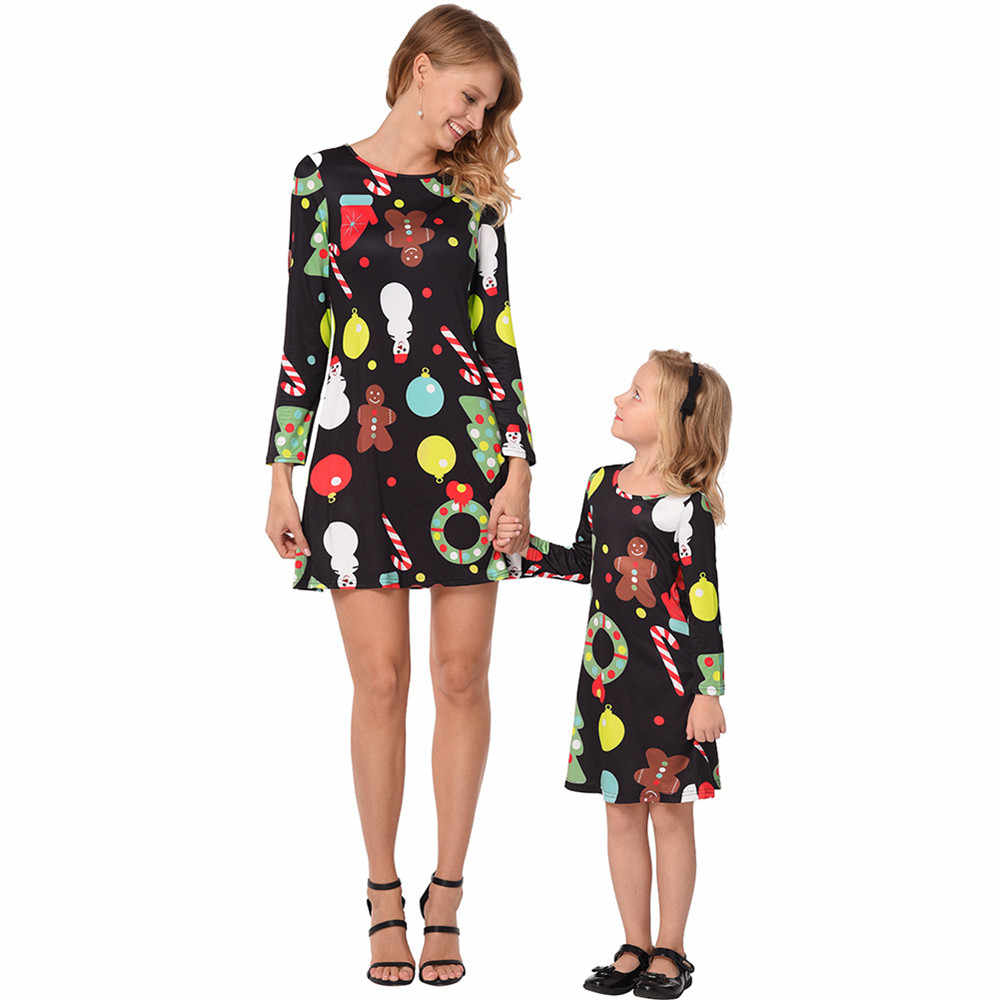 秋冬クリスマスドレスの女性のミディヘラジカスノーフレーク長袖 A ライン親子ドレス女性と女の子