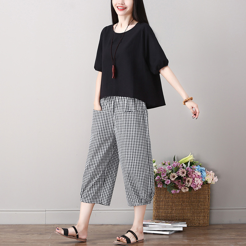 2019 New Style Literature And Art Cotton Linen Women's Loose Pants Fashion Flax Two-Piece Set