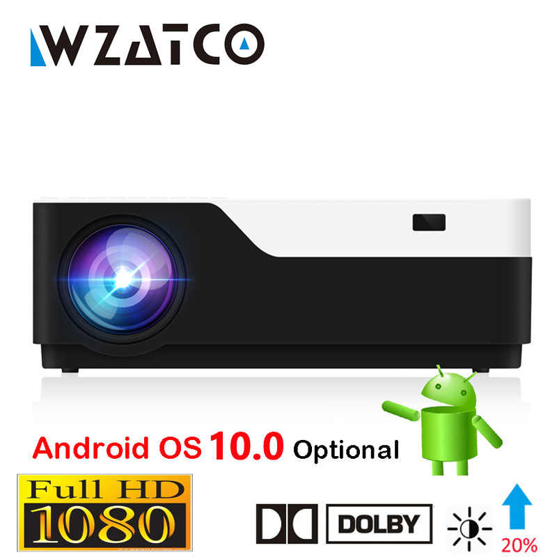 WZATCO M18 1920X1080P Android 10.0 WIFI AC3 4K 200 Inci Full HD 1080P LED Proyektor video Projector untuk Home Theater 5500Lumen