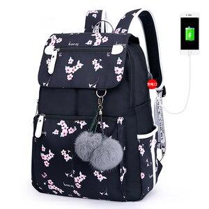 Image 1 - Fashion Female Backpack Flower Pattern Women Backpack Waterproof Shoulder Bags Teen Girl School bag Mochilas Female Student
