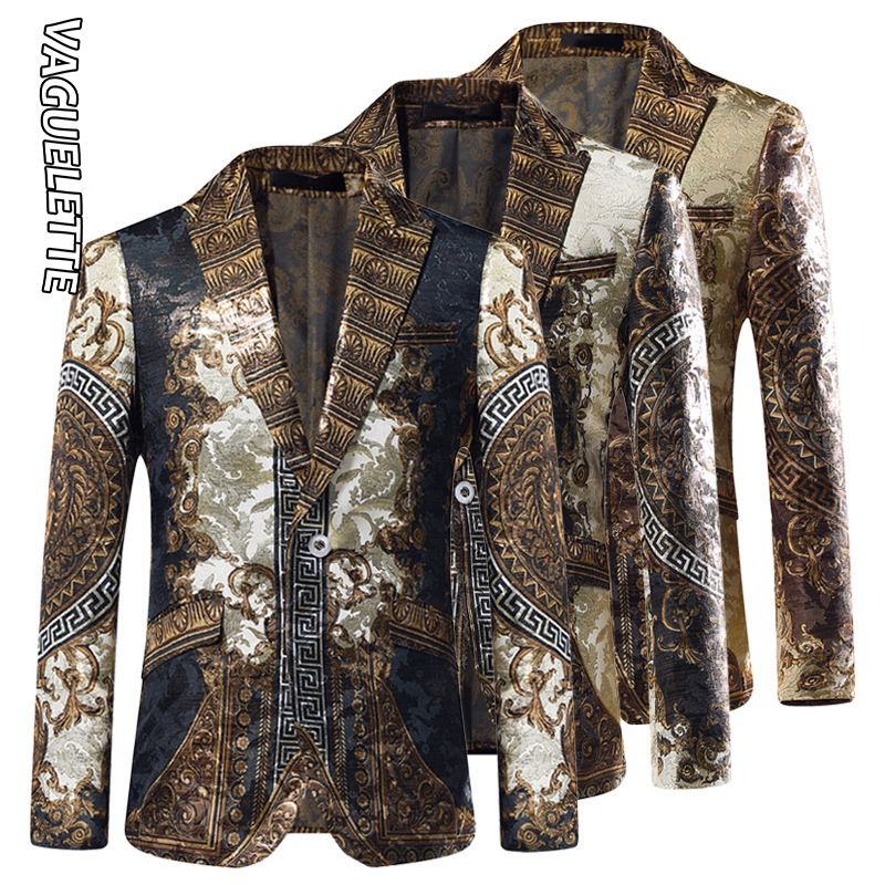 Vaguelette Gold Jacquard Blazer Slim Fit Blazer Masculino 2019 Winter Jacket Men Club DJ Mens Blazer Jacket Stage Clothers
