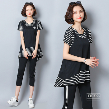 Large Size Black Two Piece Outfits For Women Summer Clothes Fake Two-piece Striped Belly Top Slim Tracksuit Wives Two-piece Suit two empresses