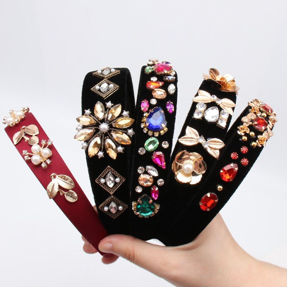 CN-Hair-Accessories-Baroque-Jeweled-Pearl-Hairband-For-Women-Girls-Crystal-Rhinestone-Bezel-Elegant-Velvet-Satin