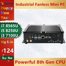2020 industrial fanless mini pc windows 10 pro i7 8565u i5 8265u i3 7100u 1 * lan 2 * rs232 7 * usb wifi hdmi linux desktop computador