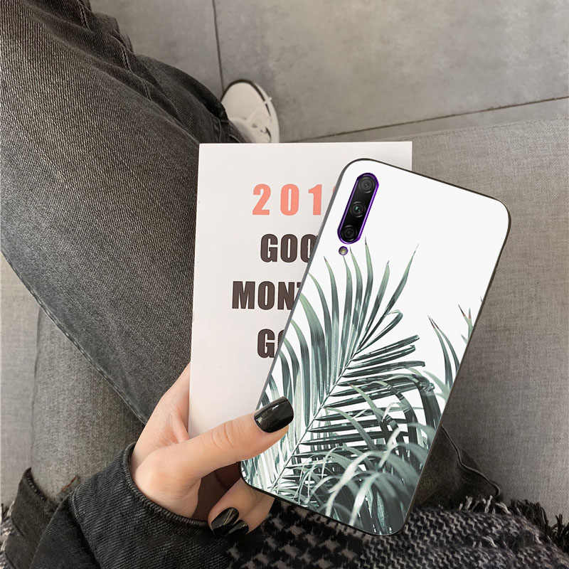 Palm tree leaf mountain white smoke TPU black Phone Case Cover Shell for huawei Y7pro y9 2018 y6 Y7 prime Y6pro 7a case