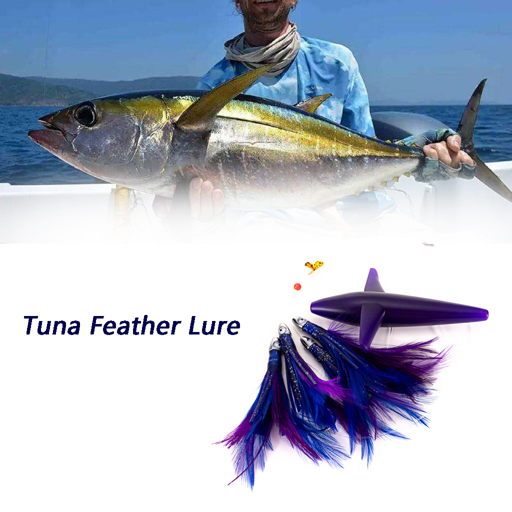 Tuna-Lure Skirt Fishing-Rigged Feather-Trolling Big-Game Assorted-Colors Stainless-Steel
