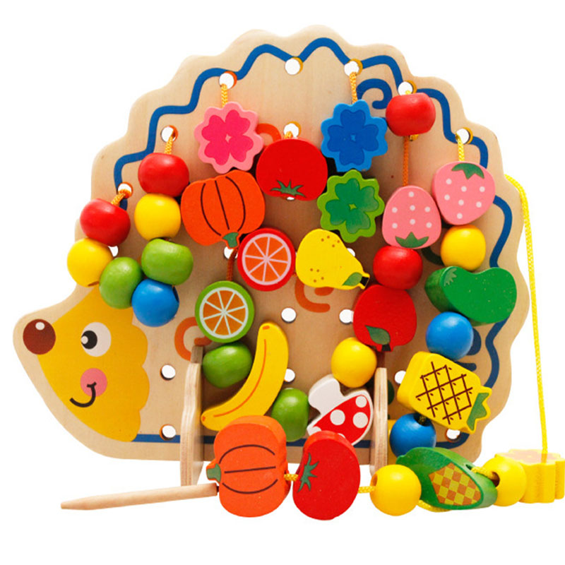 Wooden Fruits Vegetables Lacing Stringing Beads Toys With Hedgehog Board Montessori Educational Toy For Kids Children Gift