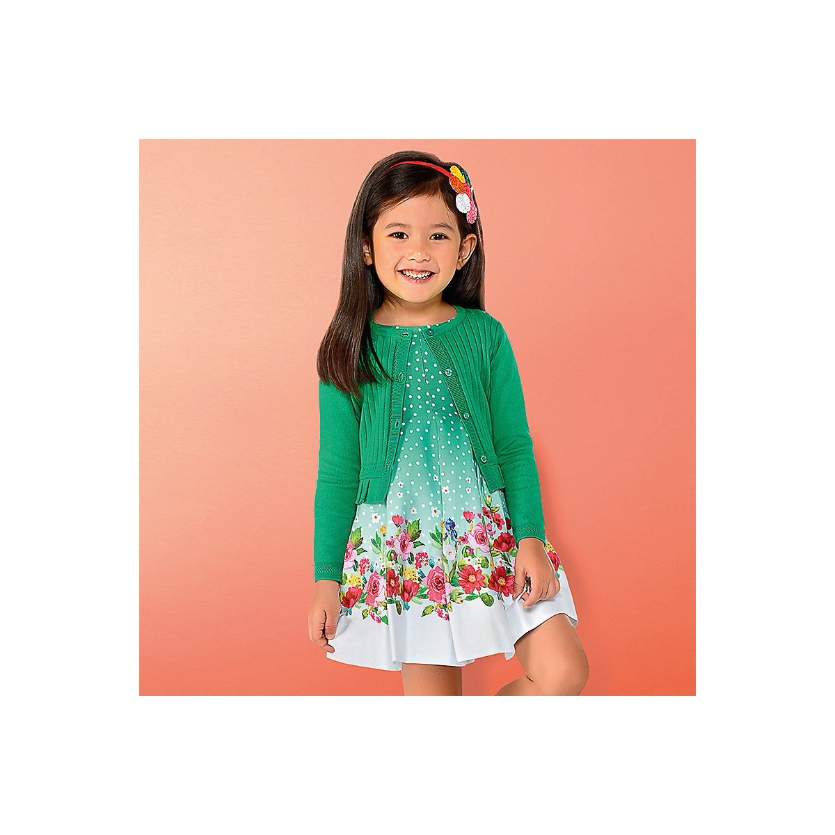 Фото - MAYORAL Dresses 10682367 Girl Children fitted pleated skirt Green Cotton Casual Floral Knee-Length Sleeveless Sleeve box pleated floral volume skirt