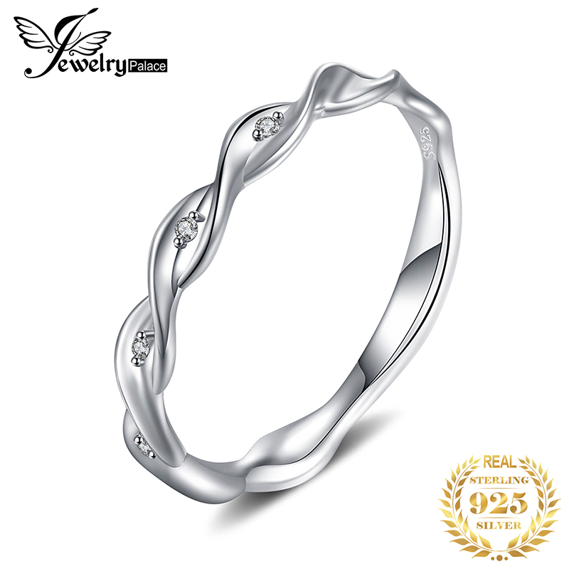 JewPalace Infinity Wedding Rings 925 Sterling Silver Rings For Women Stackable Anniversary Ring Eternity Band Silver 925 Jewelry