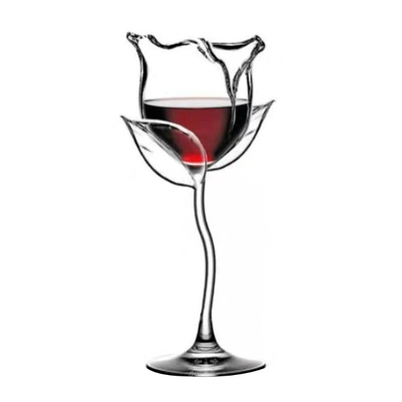 Fancy Red Wine Goblet Wine Cocktail Glasses 100ml Rose Flower Shape Wine Glass P U90A