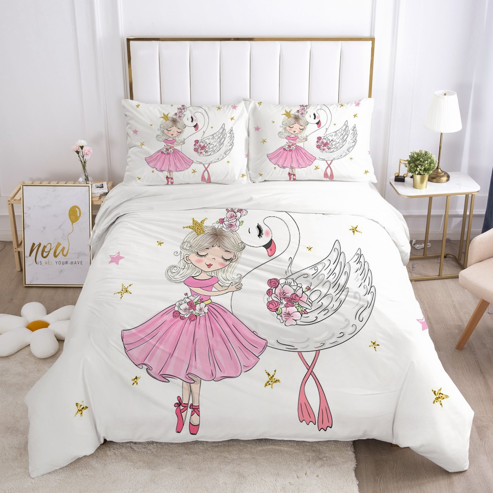 Girls Princess Cartoon Bedding Set For Baby Kids Children Crib Duvet Cover Set Pillowcase Blanket Quilt Cover Cute Pink Swan