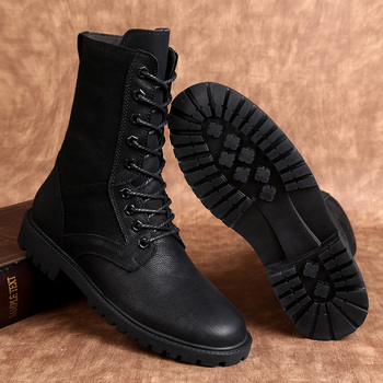 Winter Men Boots Genuine Leather High Quality Warm Handmade Male Boots Fashion Casual Shoes Snow Warm Lace Up Boots %58599