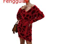 Women Leopard Knitted Dress Autumn Winter Clothes 2020 Vestidos Long Sleeve V Neck Bodycon Sweater Dresses