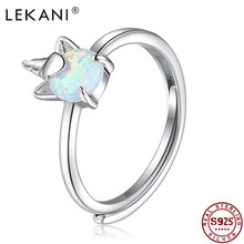 LEKANI 925 Sterling Silver Rings For Women Shining Opal Unicorn Adjustable Ring Natural Citrine Gemstones Cute Bee Fine Jewelry
