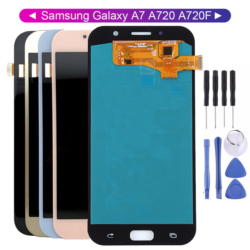 100% Tested LCD For <font><b>Samsung</b></font>-Galaxy A7 2017 A720 <font><b>A720F</b></font> SM-<font><b>A720F</b></font> LCD Display Parts with Free Tools image