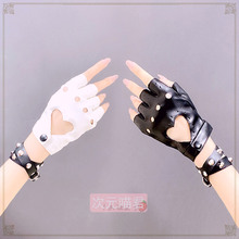 New Womens gloves Lolita Punk Gloves Rock Leather gloves Heart shape hollow out Cool girl Half-finger gloves women winter gloves cheap Adult CN(Origin) Genuine Leather Solid Wrist Gloves Mittens Fashion S0033