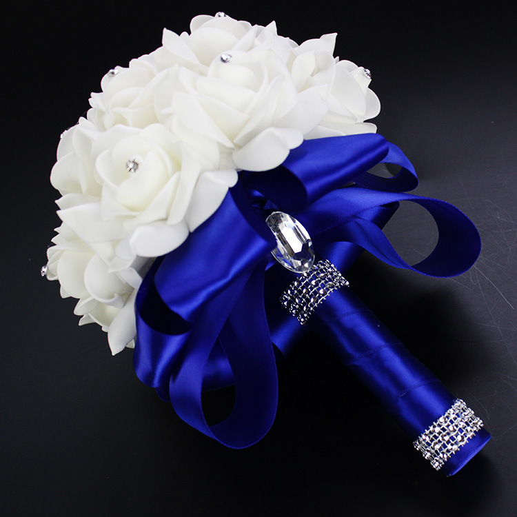 2019 Good Quality Cheapest PE Rose Bridesmaid Wedding Foam flowers Rose Bridal bouquet Ribbon Fake Wedding bouquet de noiva 4