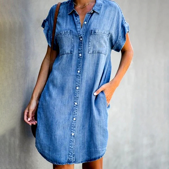 Casual Shirt Dress Midi Dress for Women