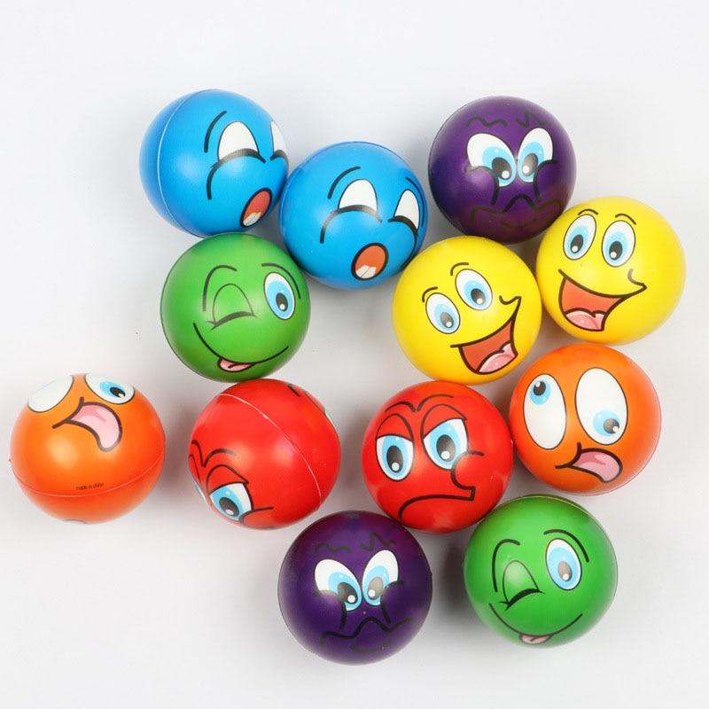 Anti Stress Ball Relief Cartoon Smiley Face PU Foam Balls Anti Stress Toys For Children Boys Girls 63mm 6pcs