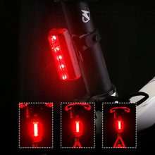 5 LEDs Safety Warning Waterproof Driving USB Rechargeable Bike Light Bycicle Lamp Night Mountain Taillight Cycling Energy Saving(China)