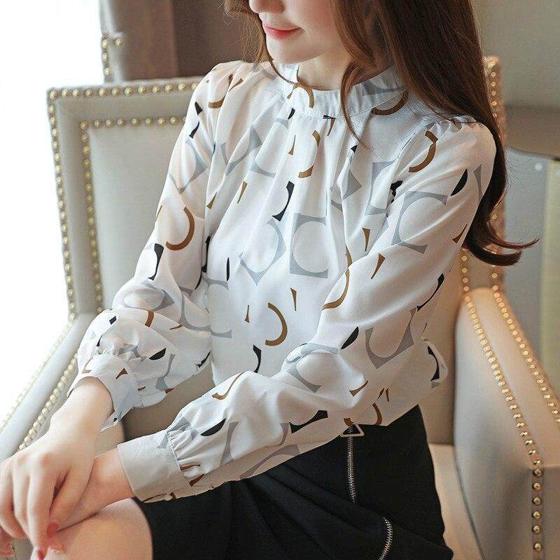 Корейская модная одежда, повседневная шифоновая блузка с длинным рукавом, женская блузка с круглым вырезом и принтом, белые, черные осенние ...