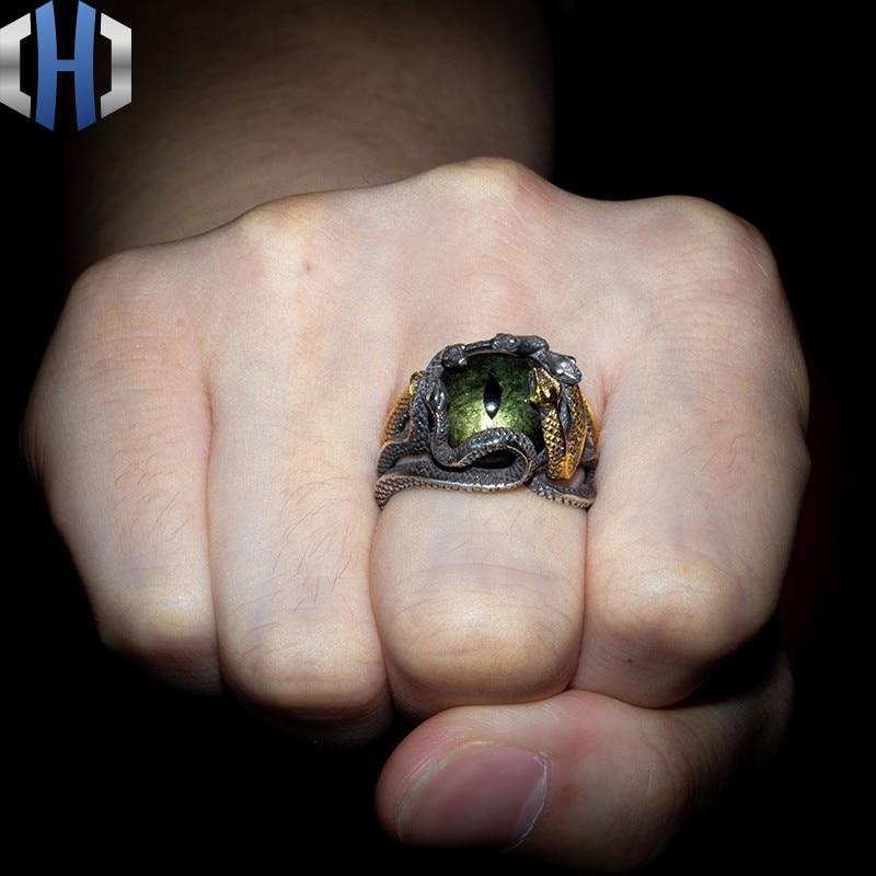 Original Design 925 Silber Schlange Ring Männlichen 24K Gold Schlange Ring Persönlichkeit Hüfte Hop Index Finger Ring Flut