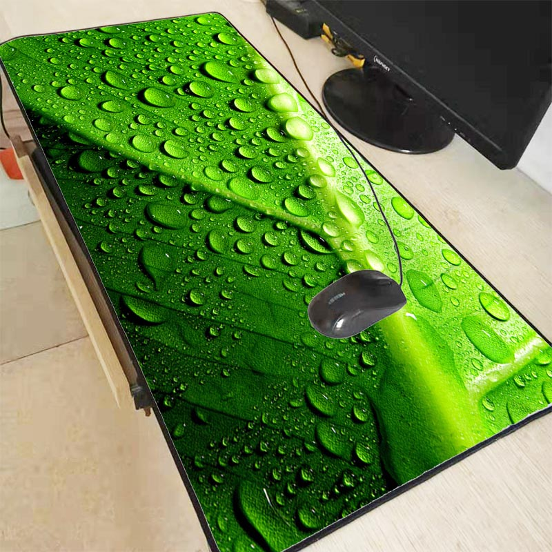 Mairuige Green Leaf Water Droplets Speed Version Large Gaming Mouse Pad Lock Edge Mouse Keyboards Mat Mousepad For CSGO Dota 2