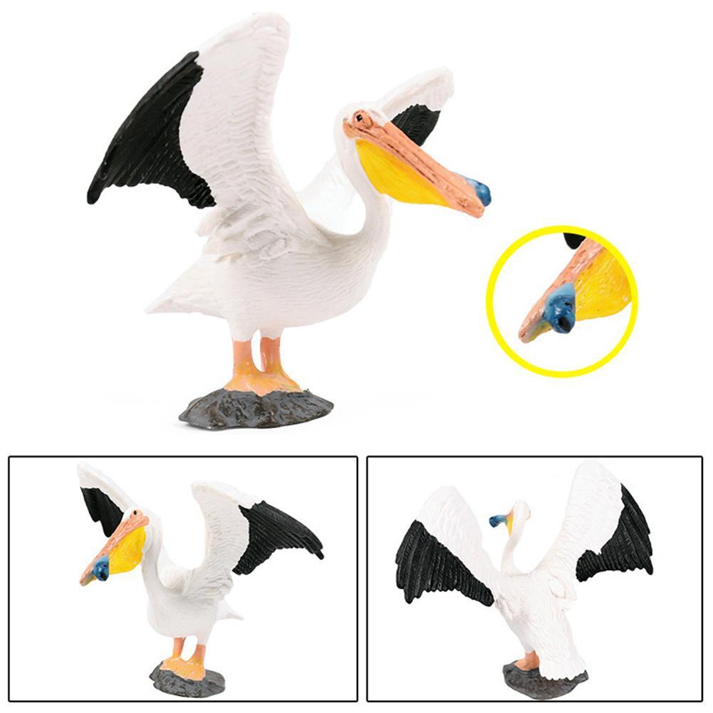 Realistic Pelican Bird Model Wild Animal Figurine Handmade Craft Education Toy Gift For Kids Action Figure Toys Figure Dolls