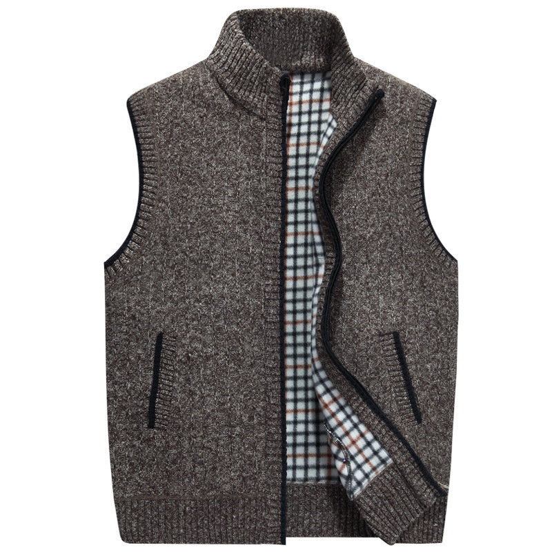 Men Wool Sweaters Vest Nice Autumn Winter Thick Warm Casual Cashmere Coat Sleeveless Knitted Vest Jacket Fleece Sweatercoat