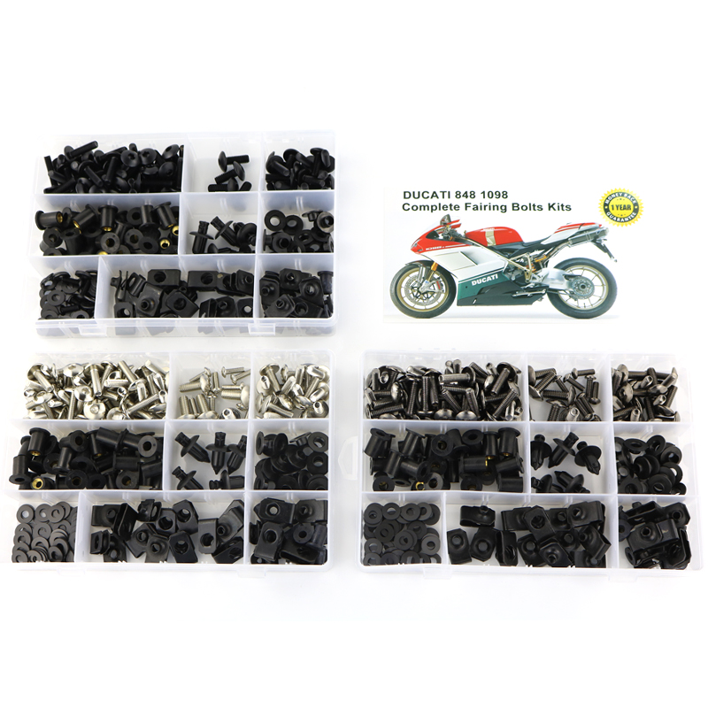 For Ducati 848 1098 Motorcycle Accessories Complete Full Fairing Bolts Kit Clips Bodywork Screw Nuts Screws Steel