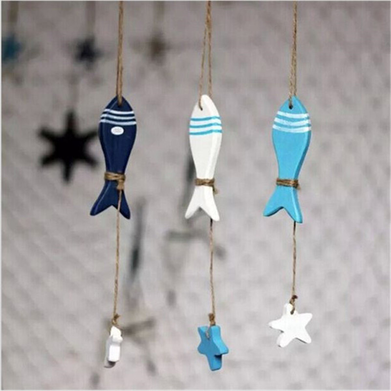 Fashion Fish/decorated Marine Pendant Mediterranean Starfish Fish Nautical Decor Hang Small Adorn Crafts Wood Home Decoration