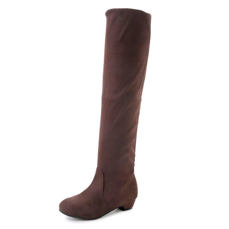 2018 dünne Stiefel Sexy Über Die Kniehohe Wildleder Frauen Schnee Stiefel frauen Mode Winter Oberschenkel Hohe Stiefel Schuhe frau Botas Mujer