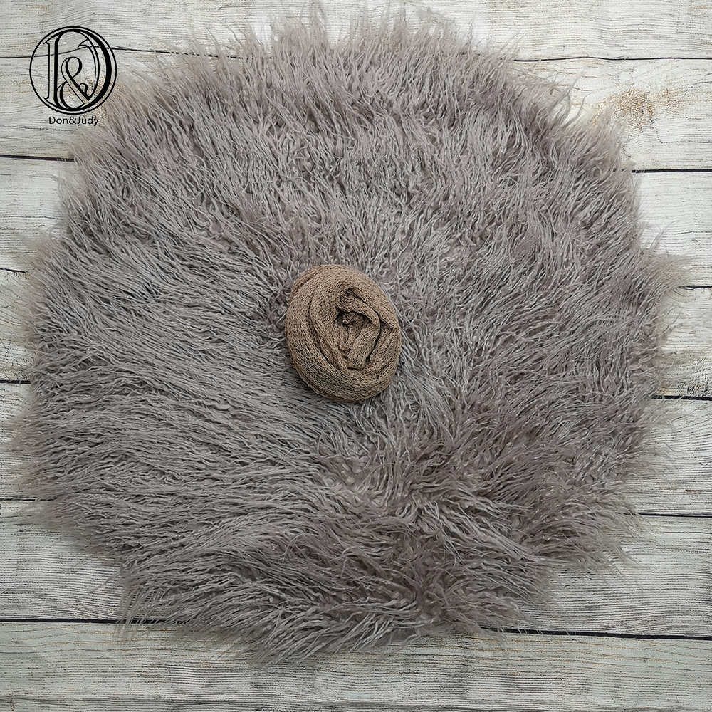 Don&Judy Round Baby Fur Blanket With Matched Wrap Newborn Photo Props Basket Stuffer Filler Photography Accessories Fotografia