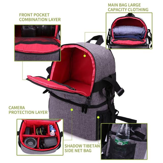 Multi-purpose DSLR Camera Bag Waterproof Photo Camera Bag Shoulder Bag Small DLSR Camera Backpack For Nikon Canon Pentax Sony 8