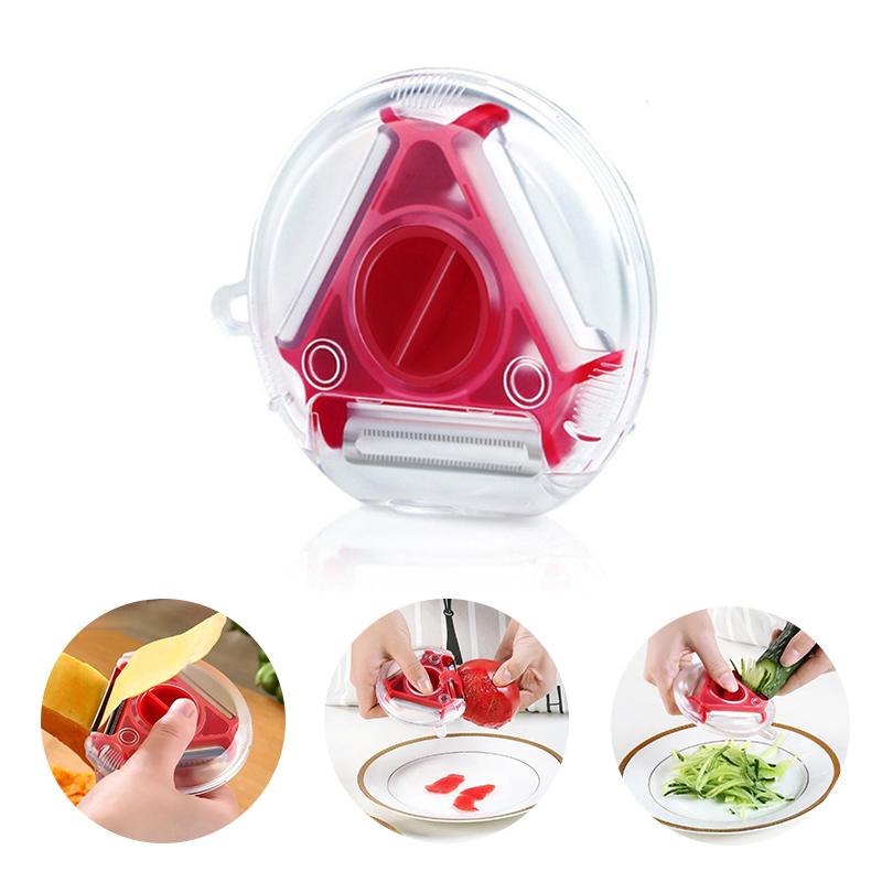 Gadgets Vegetable//Fruit Peeler with Brush 3-in-1 Red