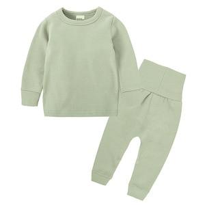 Image 4 - Intimo termico per bambini a vita alta Set neonato primavera autunno abiti bambini cotone vita alta abbigliamento per la casa neonato ragazza indumenti da notte