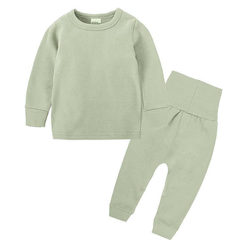 Kinderen Hoge Taille Thermisch Ondergoed Set Baby Lente Herfst Kleding Kinderen Katoenen Hoge Taille Homewear Baby Jongen Meisje Nachtkleding