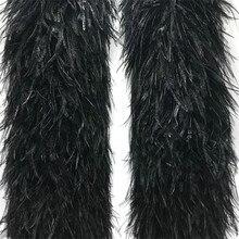 Plumes d'autruche noires et blanches, 2 mètres/lot, 1 pli, 3 plis, 5 plis, 10 plis, 20 plis, garniture Boa, jupe de mariage, Plumes artisanales