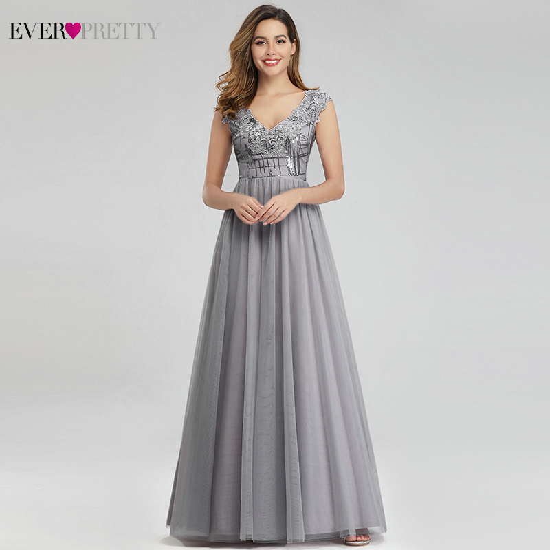 Sparkle Grey Prom Dresses Ever Pretty A-Line Deep V-Neck Sequined Sleeveless Tulle Appliques Elegant Party Gown Vestido De Festa