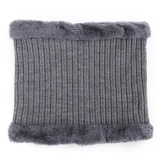 2019 New High Quality Winter Knit Beanie Scarf 2 Pieces Set Thick Lining Plus Velvet Men's Visor Hat Warm Dad Cap Soft Balaclava 5