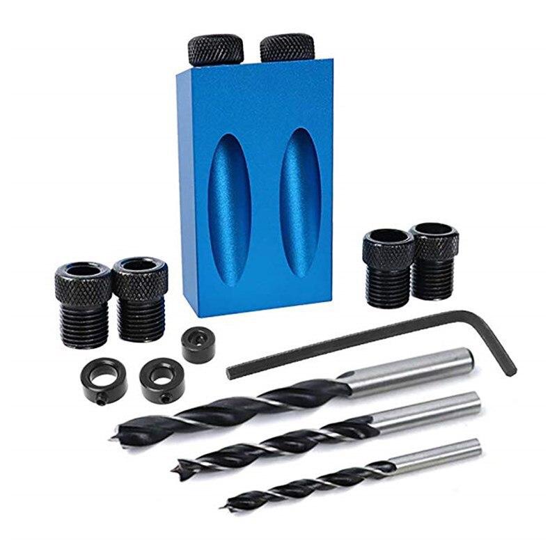 14 unids/set madera orificio oblicuo de guía de broca conjunto Kit con portapiezas con orificios golpeador de herramientas 6/8/10mm|Taladros|   - AliExpress