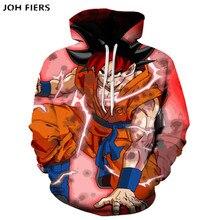 JOH FIERS Anime Hoodies Dragon Ball Z Pocket Hooded Sweatshirts Goku 3D Digital printing Men Women Long Sleeve New Hoodie