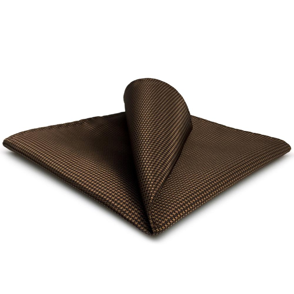 UH27 Solid Brown Mens Pocket Square Classic Handkerchief Silk