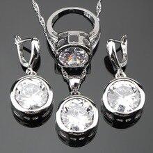 Jewelry-Sets Earrings Pendant Stones-Costume Gift-Box Silver 925 Women Round Wedding