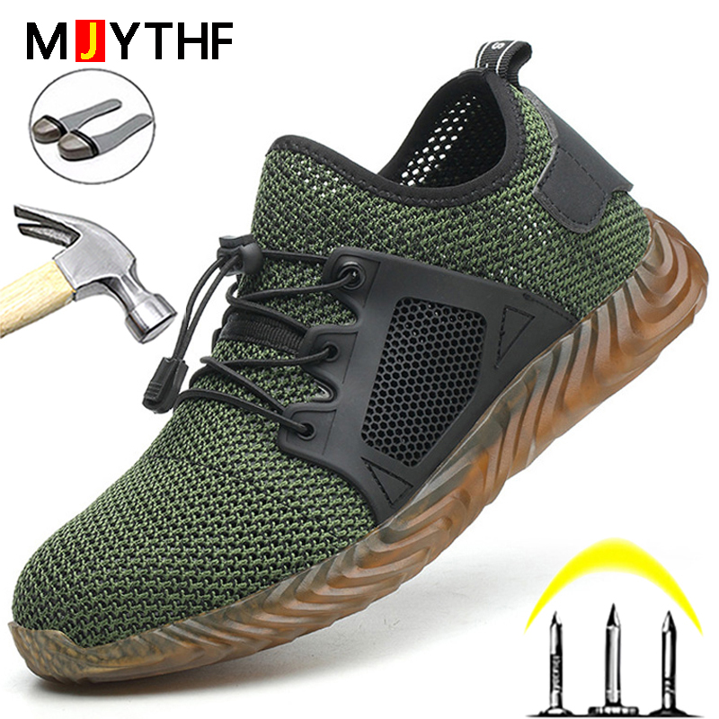2021 New Work & Safety Boots Men Steel Toe Shoes Men Safety Shoes Puncture-Proof Work Sneakers Breathable Lightweight Work Shoes